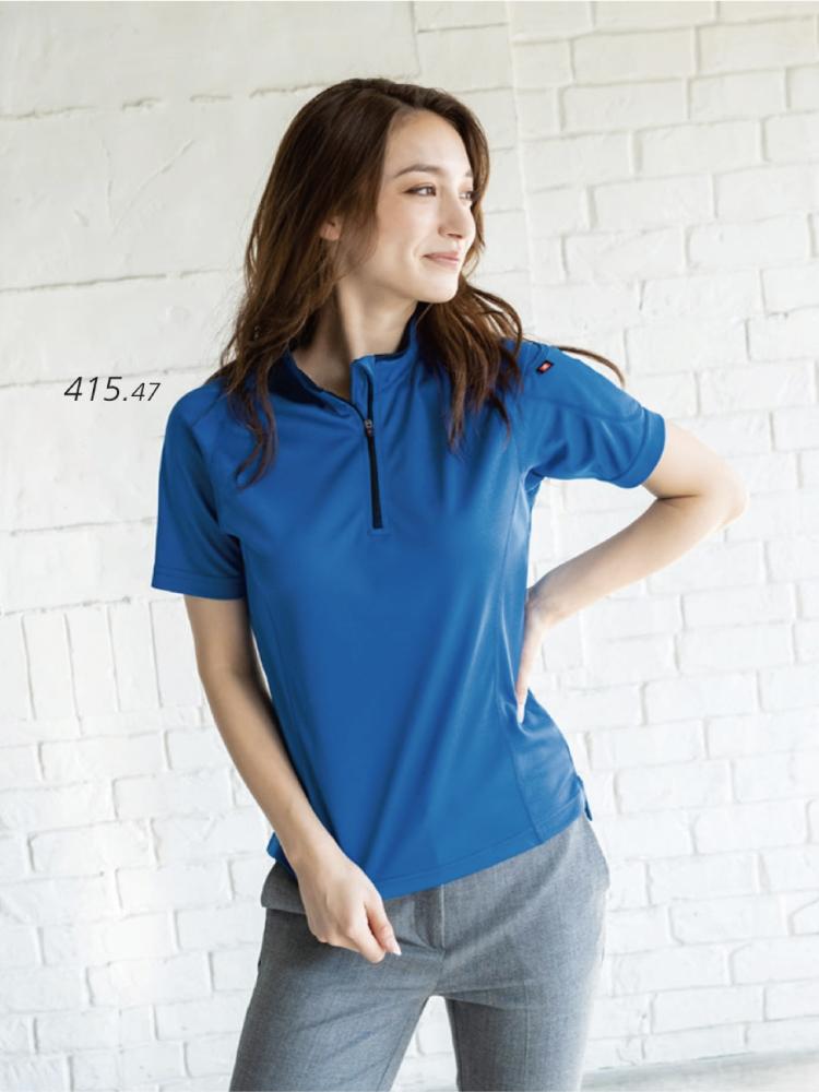 男女兼用・機能性に優れた半袖ジップシャツ