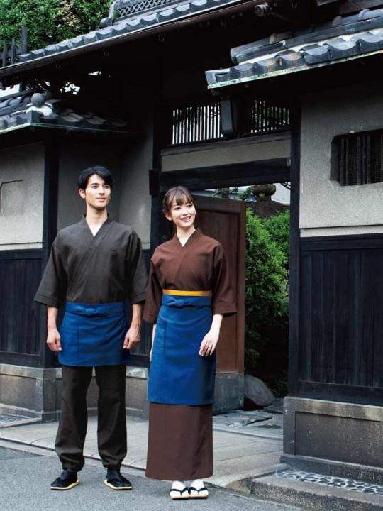 日本の伝統色が優しい雰囲気の作務衣スタイル