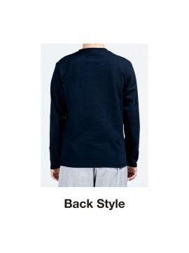 WE-00101-LVC 5.6オンス ヘビーウェイト長袖リブ無しカラーTシャツ バックスタイル