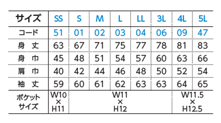 WE-00169-VLP 5.8オンス T/C長袖ポロシャツ(ポケット付) サイズ表