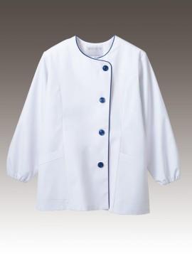 CK-1041 調理衣(長袖ゴム入) 拡大画像 白/紺