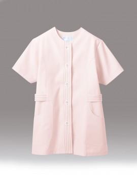 CK-1074 調理衣(半袖)ピンク 拡大画像
