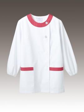 CK-1091 調理衣(長袖ゴム入) 拡大画像 白/ピンク