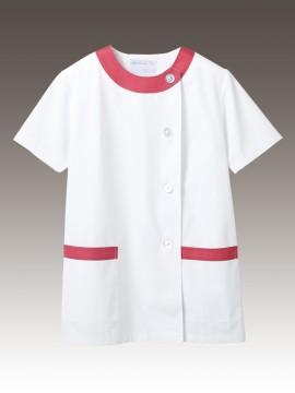 CK-1092 調理衣(半袖) 拡大画像 白/ピンク