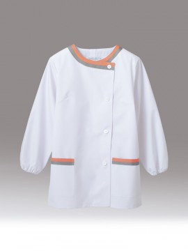 CK-1161 調理衣(長袖ゴム入) 拡大画像 白/ピンク/グレー
