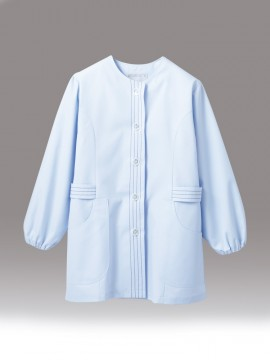 CK-1075 調理衣(長袖ゴム入) サックス 拡大画像
