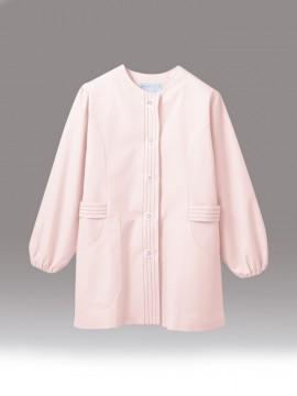 CK-1073 調理衣(長袖ゴム入) ピンク 拡大画像