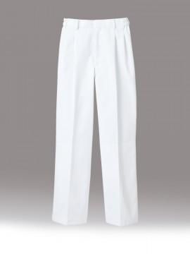 CK-7541 パンツ(男女兼用・ツータック・両脇ゴム) 白パンツ