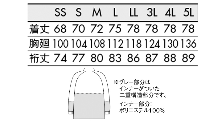RP8511 ブルゾン(男女兼用・長袖) サイズ一覧