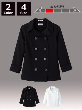 BM-FB4013L  レディスコックシャツ ブラック ホワイト