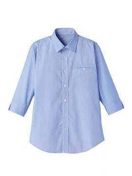 FB561U マイクロチェック七分袖シャツ ブルー×ホワイト