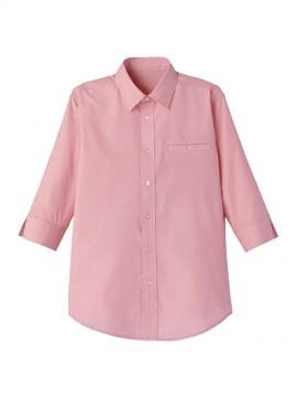 FB561U マイクロチェック七分袖シャツ レッド×ホワイト