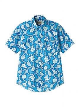 アロハシャツ(プチハイビスカス柄 ブルー