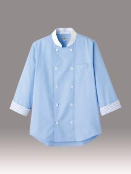 BM-FB4522U コックシャツ 男女兼用 チェック ブルー
