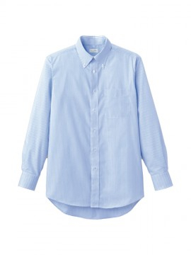 BM-FB5017M メンズ吸汗速乾長袖シャツ ブルー ストライプ 青