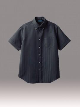 ARB-BC6919 ボタンダウンシャツ(メンズ・半袖) ブラック 黒 トップス