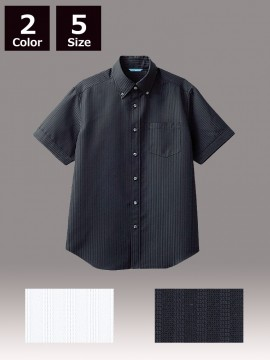 ARB-BC6919 ボタンダウンシャツ(メンズ・半袖) ブラック