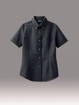 ARB-BC6921 ボタンダウンシャツ(レディス・半袖) トップス ブラック 黒