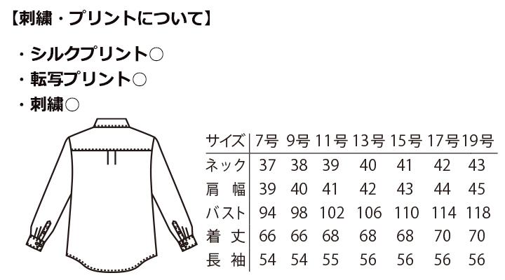 ARB-EP6851 シャツ(レディス・長袖) サイズ表