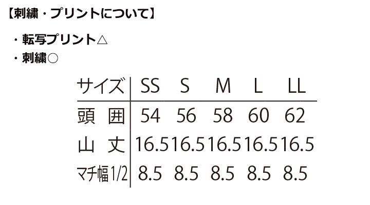 ARB-No.37 洋帽子(男女兼用) サイズ表
