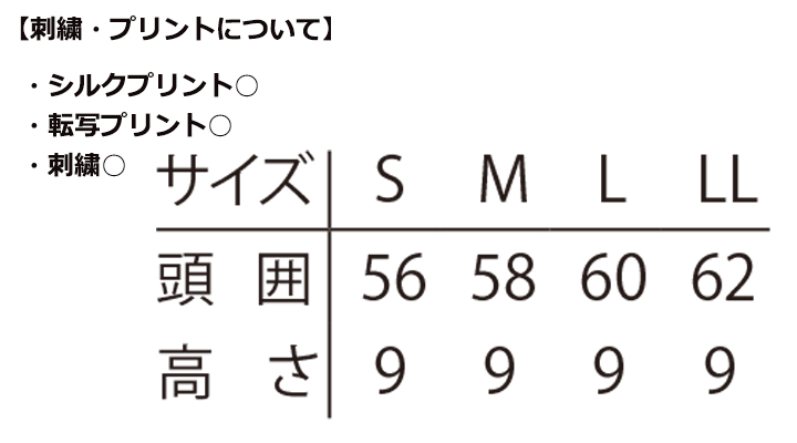 ARB-No.7800 和帽子(男女兼用) サイズ表