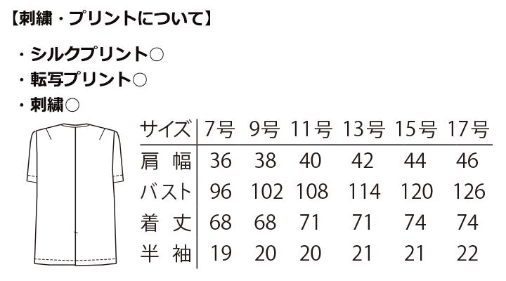 ARB-2390 白衣(レディス・半袖) サイズ表