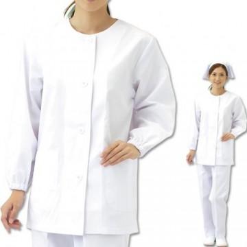 CR-ML100 婦人丸首調理衣(長袖・ゴム入り) トップス モデル着用