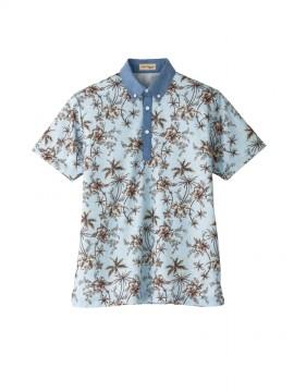 BM-FB4524U アロハプリントポロシャツ(花柄)(男女兼用) トップス ブルー 青