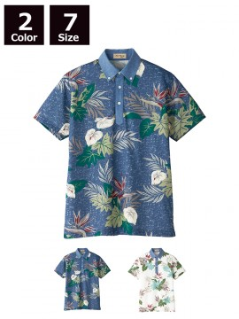 BM-FB4525U アロハプリントポロシャツ(観葉植物柄)(男女兼用) トップス