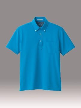 BM-FB5024M 吸水速乾メンズポロシャツ(花柄A) 拡大画像 ターコイズ