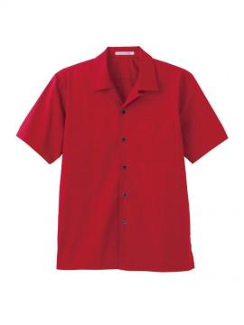 BM-FB4529U ブロードオープンカラー半袖シャツ 拡大画像 レッド