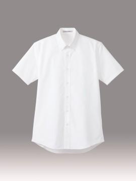 BM-FB5031M メンズストライプ調温半袖シャツ ホワイト 白 トップス