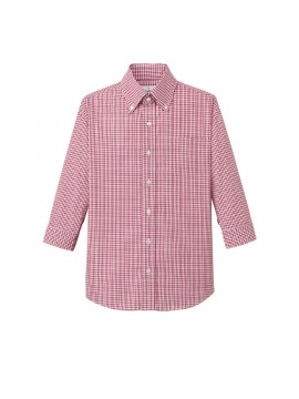 ARB-EP7818 ボタンダウンシャツ(男女兼用・七分袖) ユニセックス トップス 赤チェック
