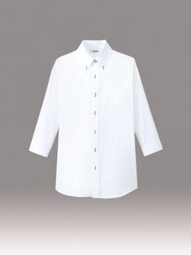 ボタンダウンシャツ(男女兼用・七分袖) モデル着用