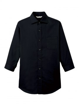 ARB-EP7822 ワイドカラーシャツ(男女兼用・七分袖) ブラック