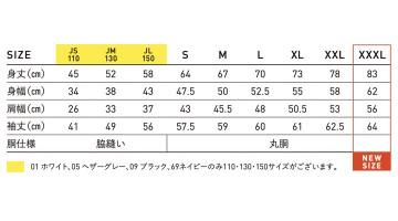 RL1216 オープンエンドマックスウェイトロングスリーブTシャツ(リブ有り) サイズ表