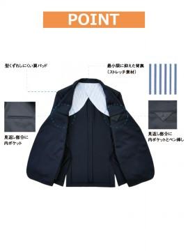 BS-11122 ニットジャケット(肩バッド付)(メンズ) 内ポケット、背裏