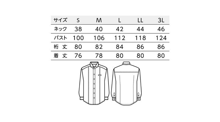BS-24115 ホリゾンタルカラーシャツ(メンズ) サイズ