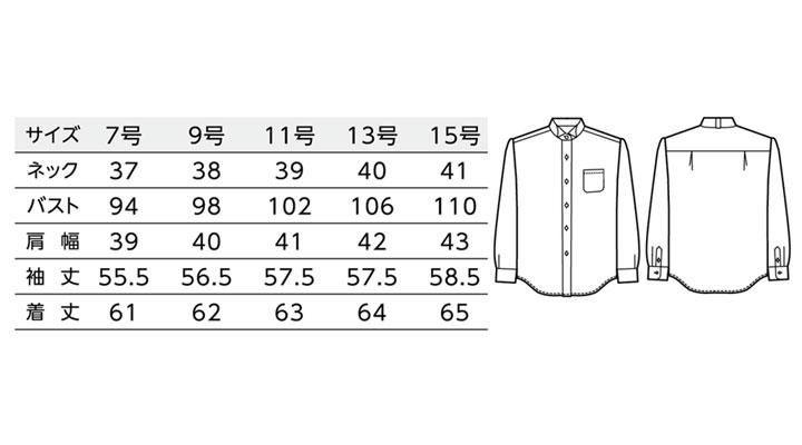 BS-14221 ウィングカラーシャツ(レディース) サイズ