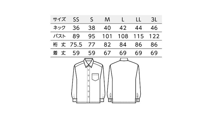 BS-24305 ボタンダウンシャツ  サイズ表