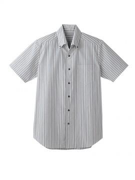 BS-23301 ボタンダウンシャツ  ストライプ トップス ライトグレー