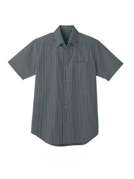 BS-23301 ボタンダウンシャツ  ストライプ トップス ダークグレー