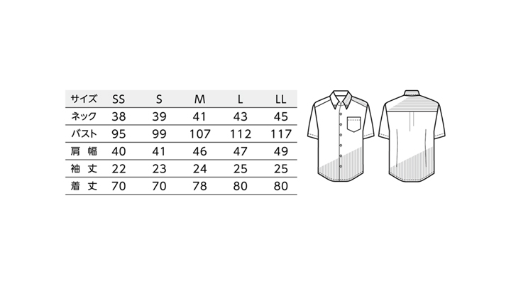 BS-23301 ボタンダウンシャツ  ストライプ トップス サイズ表
