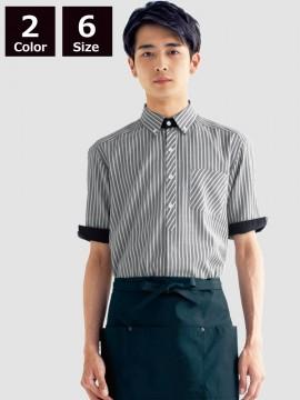 BS-23303 ボタンダウンシャツ モデル着用 グレー