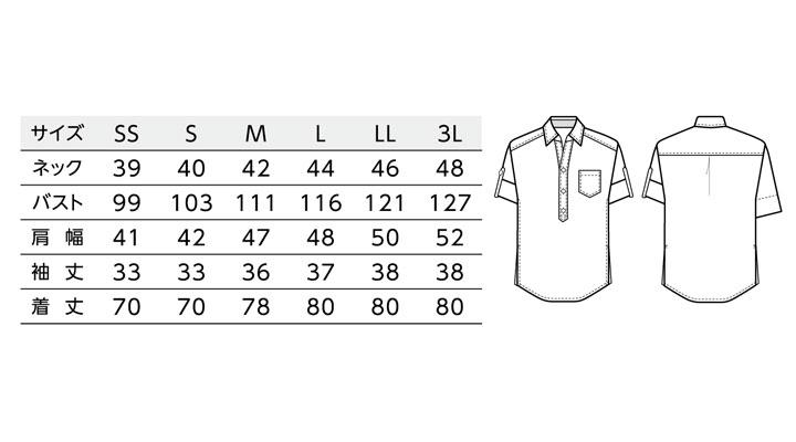 BS-00100 プルオーバーシャツ(男女兼用) サイズ