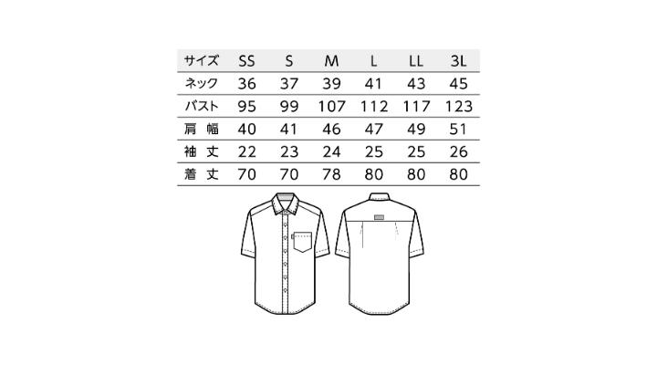 BS-33305 ボタンダウンシャツ トップス サイズ表