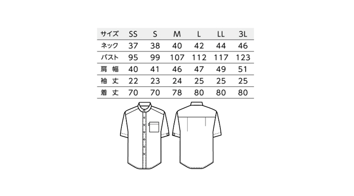 BS-33302 スタンドカラーシャツ サイズ表