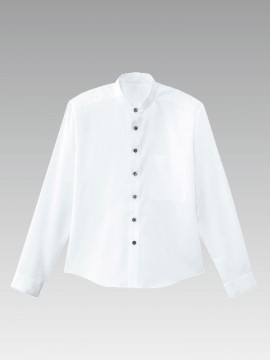 BS-08919 スタンドカラー 長袖シャツ(男女兼用) 白