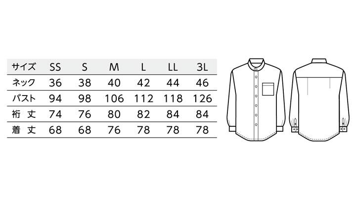 BS-08919 スタンドカラー 長袖シャツ(男女兼用) サイズ一覧