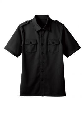 BS-00102 ニットワッフルシャツ 半袖(男女兼用) 黒